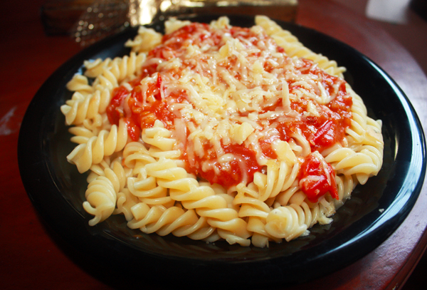 Pasta with tomato sauce cheese