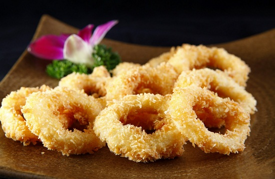 Slices of fried squid